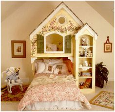 """Just try and imagine the sweet and wonderful dreams your daughters will have when going to sleep in this delightful Home Sweet Home Bunk Bed. This unique Maryville Collection bed is a beautiful space saving solution for your children who want to enjoy a home of their within the four walls of their bedroom. Included in this special """"little house"""" is an all-purpose nightstand, sturdy bookcase and a built in toy bin."""
