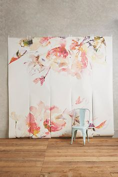This watercolor blossoms wallpaper is specially designed for Anthropologie wallpaper mural