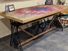 Pieced Quilt Block Table using Sewing Machine Base