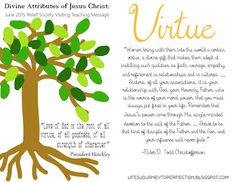 June 2015 Relief Society Visiting Teaching Message: Divine Attributes of Jesus Christ: Virtue