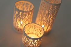 These textural porcelain candle holders will update any holiday table.