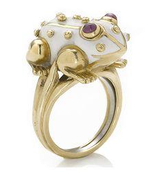 An enamel and ruby frog ring, David Webb signed Webb for David Webb; mounted in eighteen karat gold. #cute