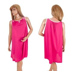#Vintage60'sNightgown #Nightgown #OpenBustNightgown Hot Pink #Mod Nylon Flower Applique #Negligee #SatinNightgown #SomeLikeItUsed