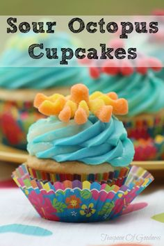 Sour Octopus cupcakes make the perfect fun treat for kids. These are perfect cupcakes for kids are always a hit with their bright colors and slightly sour additions. Cupcake Recipes, Cupcake Cakes, Dessert Recipes, Kid Recipes, Cupcake Ideas, Muffin Recipes, Easy Desserts, Delicious Desserts, Birthday Cakes