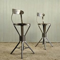 Pair of Evertaut Factory Stools - Two Industrial Seats Reclaim Salvage 1930 s