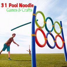 Fun activities for kids: turn inexpensive pool noodles into backyard toys. Among the great outdoor activities for summer Noodles Games, Pool Noodle Games, Pool Noodles, Fun Noodles, Pool Noodle Horse, Pool Party Games, Game Party, Backyard Toys, Backyard Ideas