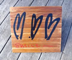 Smile  Three Crooked Hearts  painting on by MookieWoodArt on Etsy