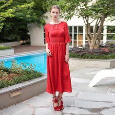 cdfc8fbde7e Voa Summer Pure Red Flare Sleeve Silk Jacquard Dress Plus Size High Waist  Solid Vintage Women Cute Maxi Dress