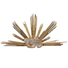 Large Size Italian 19th Century Cloudy Sunburst Sculpture with Gilded Rays | From a unique collection of antique and modern wall-mounted sculptures at https://www.1stdibs.com/furniture/wall-decorations/wall-mounted-sculptures/