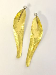 Gorgeous new earrings from Alexandra Heart. Certified post consumer diamonds top these detailed feather earrings made out of gold Feather Earrings, Drop Earrings, Diamond Tops, Higher Design, Handcrafted Jewelry, Metal Working, Bridal Jewelry, Jewelry Crafts, 18k Gold
