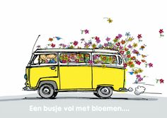 Hip vw yellow bus with flowers Vw T1 Camper, Volkswagen Bus, Kombi Hippie, Bus Drawing, Combi T2, T6 California, Bus Art, Vw Vintage, Vintage Campers