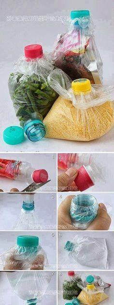 handige tip om klein voedingsmiddelen in een zakje te doen en te bewaren My DIY Projects: Great idea for keeping foods
