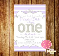 Purple and Silver Glitter First Birthday Party Invitation, Lavender and Silver Party