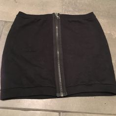 """Black Zip Mini Skirt Thicker sweatshirt cotton with full zip detain in front. Flattering fit. I'm 5'10"""" & hits mid thigh on me. Skirts Mini"""