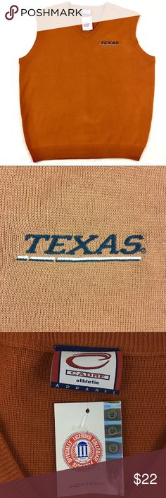 """UT Texas Longhorns Orange Sweater Vest XL UT Texas Longhorns Orange Sweater Vest Size XL. Length: 29"""" Pit to Pit: 26"""" Shoulder width: 20"""" Waist across: 25"""". 100% acrylic. Made in Italy. Made by Cadre Athletic Apparel - Officially licensed collegiate product. Pull over style. """"Texas"""" embroidered on chest. Pet and smoke free home. Cadre Jackets & Coats Vests"""