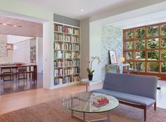 """Lined with built-in bookcases, the #""""away"""" #room is a quiet #retreat, designed by Tim Abrams and Catherine Fowlkes, for reading or relaxing. #interior #design"""