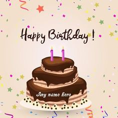 online edit happy birthday cake with name pic for free. happy birthday cake with name and photo edit. write name on birthday cake with candles pic free edit and share. make a birthday cake images with name. Happy Birthday Cake Writing, Birthday Cake Write Name, Happy Birthday Name, Cake Name, Birthday Wishes With Photo, Happy Birthday Cake Photo, Happy Birthday Wishes Cards, Birthday Cakes, Editable Birthday Cards