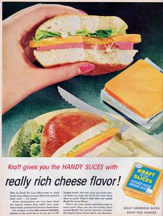kraft cheese deluxe slices 1958 by it's better than bad, via Flickr; I remember when the cheese was this thick