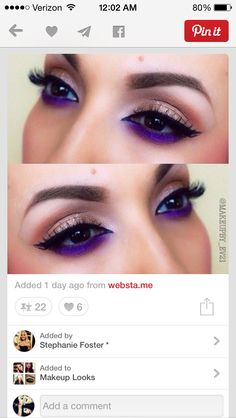 Absolutely loving this matte purple shadow on the lower lash line