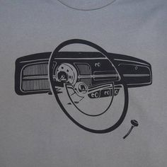 Classic Volkswagen Beetle Dashboard T-shirt Black print on a Grey 100% cotton shirt. Free shipping within the continental United States