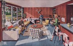 "1951 Rec Room This ""rendevous-room"" was designed by George Cooper for Malarkey Plywoods (which was responsible for the redwood walls). Love the camo bar stools! 1950s Living Room, Mid Century Living Room, Mid Century House, Mid Century Decor, Retro Room, Vintage Room, Vintage Stuff, Hotel Lobby, Mcm Furniture"