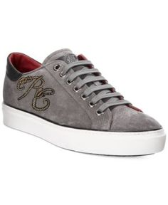 Roberto Cavalli Men's Suede Rc Logo Low-Top Sneakers - Gray 10.5