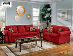 Cabot Red Sofa & Love Seat Casual Living Room Furniture Set - Living room with red furniture