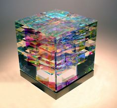 cube with computerised graphic layers ~ art
