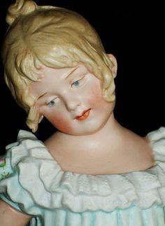 Antique German GEBRUDER HEUBACH DANCING GIRL DOLL PIANO BABY Bisque Figurine in Figurines | eBay
