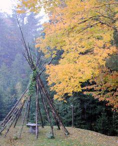 My teepee in the fall foliage.