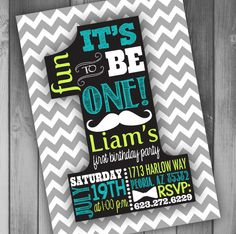 Baby Boy First Birthday Invitation Boy First by CLaceyDesign, $15.00