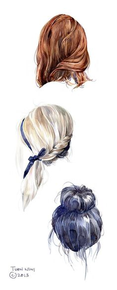 drawing hair Hair by Tuan Nini, via Behance. I like the hair lines and how the shape of the lines determine the different looks. How To Draw Hair, Art Plastique, Art Drawings, Drawing Portraits, Drawing Sketches, Body Sketches, Sketching, Art Techniques, Watercolor Techniques