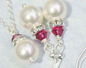 Bridesmaid Gift Set - Swarovski White Pearl and Fuschia Crystal Necklace and Earring Set
