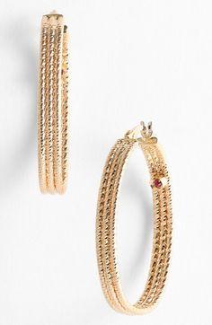 Ribbed Gold Hoop Earrings