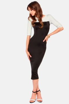 76571036bd35c Let us tell you a secret  the TFNC Telle Black Bodycon Dress is most  fashionable thing to hit the runway this century! Black scuba knit puts  your figure on ...
