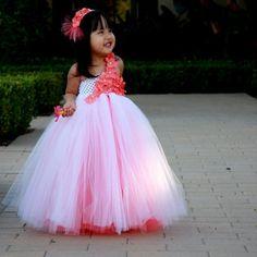 White n Coral Underlay with Hydrangeas Tutu Flower Girl Dress
