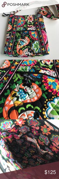 """Disney Authentic Vera Bradley Crossbody 💖 Disney Park exclusive from Disney World! Vera Bradley Mickey & Minnie Mouse Multi Color Cross Body Bag 11""""L x 11""""H x 1.75""""W. Quilted with many pockets and adjustable strap. Vera Bradley Bags Crossbody Bags"""