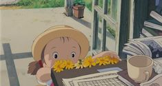 Screencap Gallery for My Neighbor Totoro Bluray, Studio Ghibli). Two young girls, Satsuki and her younger sister Mei, move into a house in the country with their father to be closer to their hospitalized mother. Studio Ghibli Art, Studio Ghibli Movies, Hayao Miyazaki, Anime Manga, Anime Art, Aesthetic Gif, My Neighbor Totoro, Animation, Anime Scenery