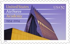"In 2004, USPS issued this stamp to mark the 50th anniversary of the establishment of the United States Air Force Academy, whose mission is ""to inspire and develop outstanding young men and women to become Air Force officers with knowledge, character, and discipline; motivated to lead the world's greatest aerospace force in service to this nation."""