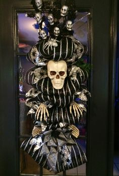 Hey, I found this really awesome Etsy listing at https://www.etsy.com/listing/204298795/halloween-skeleton-swag-wreath