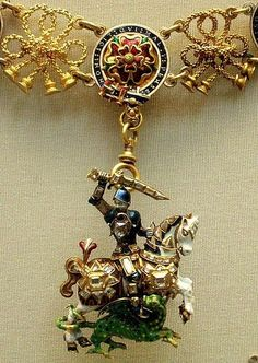 The Great George Ena  The Great George Enamelled gold St. George and the dragon with diamond 17th c England.