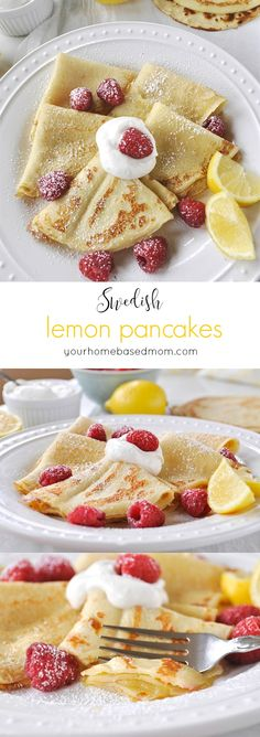 Swedish Lemon Pancakes recipes. Surprise your family with this fabulously spring breakfast recipe! yourhomebasedmom.com for thirtyhandmadedays.com #Pancakes #Lemon