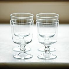 Set of 4 SL Wine Glasses | Ballard Designs-From water to tea to wine, these glasses make me smile.