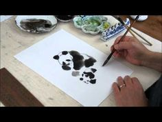 Panda Bears - How to Paint Animals in Sumi and Watercolor Tutorial(HD) Japanese Watercolor, Easy Watercolor, Japanese Painting, Watercolor Animals, Chinese Painting, Japanese Art, Watercolor Projects, Watercolour Tutorials, Watercolor Techniques