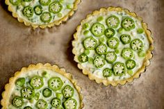 Okra and corn tart is a seasonal dish from Princess Tofu. This meatless meal is so easy and delicious, you'll want to make this tart every Monday. A buttery polenta crust is filled with goat cheese, serrano peppers, okra and corn before be Tart Recipes, Real Food Recipes, Vegetarian Recipes, Cooking Recipes, Egg Recipes, Healthy Recipes, Polenta, Okra Seeds, Candy Corn