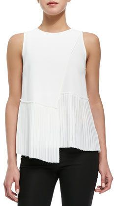 Sleeveless Top with Asymmetric Pleated Hem