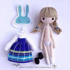 Kayla 凯拉,a little girl with rabbit mask - Crochet / amigurumi doll pattern