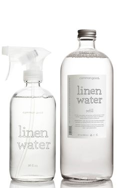 A convenient duo for those who enjoy fresh linens! - scented with pure lavender essential oil - spray lightly onto bed linen and furnishings to add a fresh, light scent - lightly spray cloth Skincare Packaging, Beauty Packaging, Small Dressing Table, Queen Sheets, Bed Sheets, Linen Spray, Bottle Packaging, Diy Cleaning Products, Bottle Design