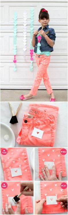 DIY: Coração pintado em suas Jeans