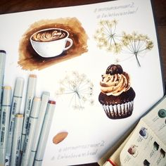 sketch, sketching, marker, illustration, maffin, cupcake, cofee, cup
